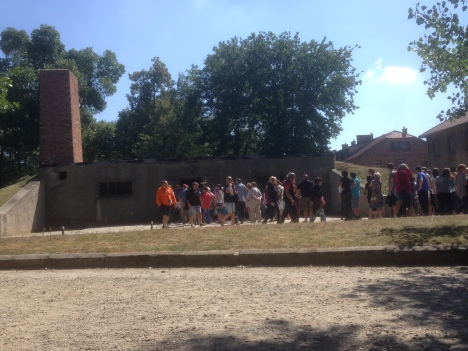 Tourists queueing for the gas chamber